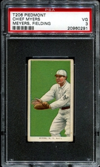 1909-11 T206 Piedmont Chief Myers (Meyers - Fielding) PSA 3 (VG) *0291