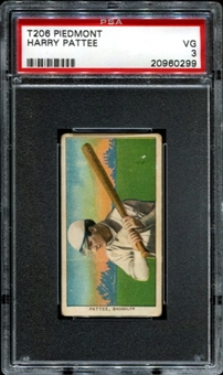 1909-11 T206 Piedmont Harry Pattee PSA 3 (VG) *0299