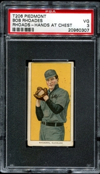 1909-11 T206 Piedmont Bob Rhoades (Rhoads - Hands At Chest) PSA 3 (VG) *0307