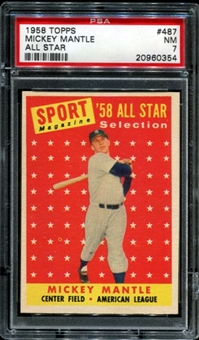 1958 Topps Baseball #487 Mickey Mantle All Star PSA 7 (NM) *0354