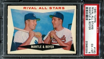 1960 Topps Baseball #160 Mantle & Boyer Rival All Stars PSA 6 (EX-MT) *0356