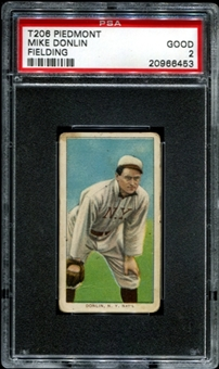 1909-11 T206 Piedmont Mike Donlin (Fielding) PSA 2 (GOOD) *6453