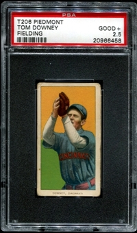 1909-11 T206 Piedmont Tom Downey (Fielding) PSA 2.5 (GOOD+) *6458