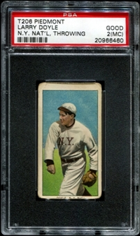 1909-11 T206 Piedmont Larry Doyle (N.Y. NAT'L - Throwing) PSA 2 (GOOD) (MC) *6460