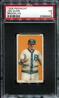 1909-11 T206 Piedmont Joe Dunn (Brooklyn) PSA 3 (VG) *6462