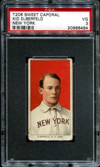 1909-11 T206 Sweet Caporal Kid Elberfeld (New York) PSA 3 (VG) *6464