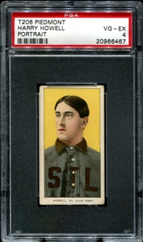 1909-11 T206 Piedmont Harry Howell (Portrait) PSA 4 (VG-EX) *6467