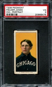 1909-11 T206 Piedmont Fielder Jones (Chicago - Portrait) PSA 3 (VG) *6476