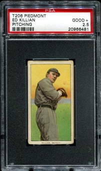 1909-11 T206 Piedmont Ed Killian (Pitching) PSA 2.5 (GOOD+) *6481