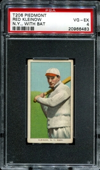 1909-11 T206 Piedmont Red Kleinow (N.Y. - With Bat) PSA 4 (VG-EX) *6483