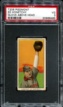 1909-11 T206 Piedmont Ed Konetchy (Glove Above Head) PSA 3 (VG) *6485