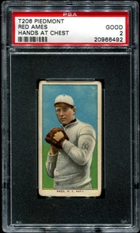 1909-11 T206 Piedmont Red Ames (Hands At Chest) PSA 2 (GOOD) *6492