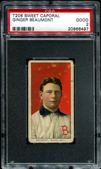1909-11 T206 Sweet Caporal Ginger Beaumont PSA 2 (GOOD) *6497