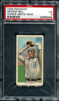 1909-11 T206 Piedmont George Bell (Hands Above Head) PSA 3 (VG) *6499