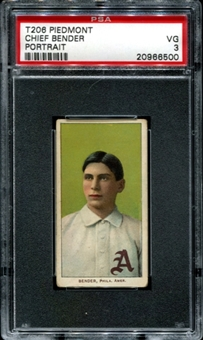 1909-11 T206 Piedmont Chief Bender (Portrait) PSA 3 (VG) *6500