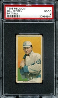 1909-11 T206 Piedmont Bill Bergen (Batting) PSA 2 (GOOD) *6501
