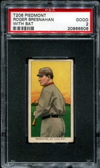 1909-11 T206 Piedmont Roger Bresnahan (With Bat) PSA 2 (GOOD) *6506