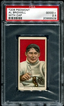 1909-11 T206 Piedmont Al Bridwell (With Cap) PSA 2.5 (GOOD+) *6509
