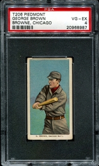 1909-11 T206 Piedmont George Brown (Browne, Chicago) PSA 4 (VG-EX) *8987