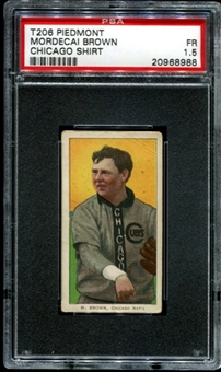 1909-11 T206 Piedmont Mordecai Brown (Chicago Shirt) PSA 1.5 (FR) *8988