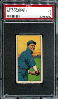 1909-11 T206 Piedmont Billy Campbell PSA 3 (VG) *8992