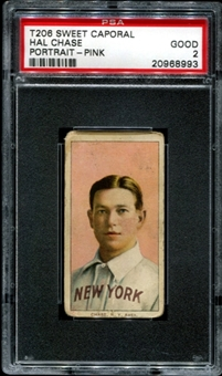 1909-11 T206 Sweet Caporal Hal Chase (Portrait - Pink) PSA 2 (GOOD) *8993