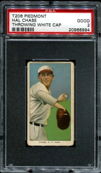 1909-11 T206 Piedmont Hal Chase (Throwing - White Cap) PSA 2 (GOOD) *8994