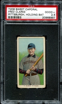 1909-11 T206 Sweet Caporal Fred Clarke (Pittsburgh-Holding Bat) PSA 2.5 (GOOD+) *8997