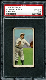 1909-11 T206 Piedmont Admiral Schlei (Catching) PSA 2.5 (GOOD+) *9022