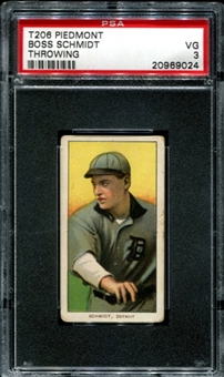 1909-11 T206 Piedmont Boss Schmidt (Throwing) PSA 3 (VG) *9024