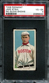 1909-11 T206 Piedmont Jake Stahl (No Glove Shows) PSA 4 (VG-EX) *9033