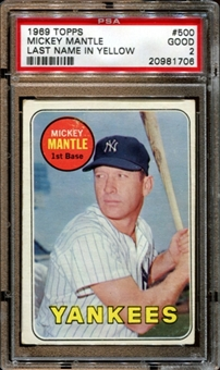1969 Topps Baseball #500 Mickey Mantle PSA 2 (GOOD) *1706