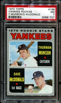 1970 Topps Baseball #189 Thurman Munson Rookie PSA 7 (NM) *1707