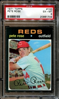 1971 Topps Baseball #100 Pete Rose PSA 6 (EX-MT) *1709