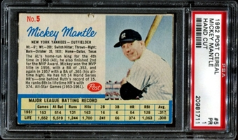 1962 Post Cereal Baseball #5 Mickey Mantle PSA 1 (PR) *1711