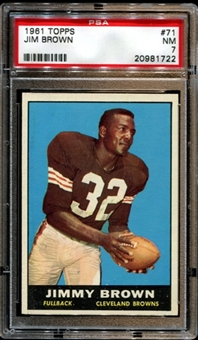 1961 Topps Football #71 Jim Brown PSA 7 (NM) *1722