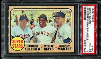 1968 Topps Baseball #490 Super Stars (Killebrew-Mays-Mantle) PSA 4 (VG-EX) *1744