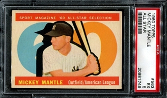 1960 Topps Baseball #563 Mickey Mantle All Star PSA 5 (EX) *1749