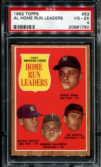 1962 Topps Baseball #53 AL Home Run Leaders PSA 4 (VG-EX) *1750