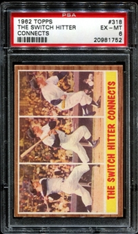 1962 Topps Baseball #318 Mickey Mantle (Switch Hitter Connects) PSA 6 (EX-MT) *1752