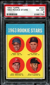 1963 Topps Baseball #553 Willie Stargell Rookie PSA 6 (EX-MT) *1755
