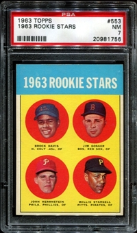 1963 Topps Baseball #553 Willie Stargell Rookie PSA 7 (NM) *1756