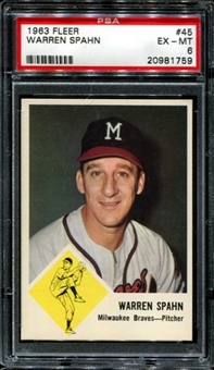 1963 Fleer Baseball #45 Warren Spahn PSA 6 (EX-MT) *1759