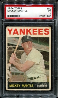1964 Topps Baseball #50 Mickey Mantle PSA 1 (PR) *1760
