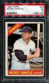 1966 Topps Baseball #50 Mickey Mantle PSA 5 (EX) *1764