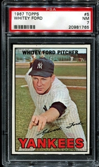 1967 Topps Baseball #5 Whitey Ford PSA 7 (NM) *1765
