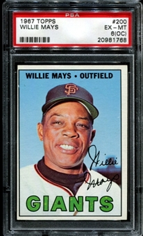 1967 Topps Baseball #200 Willie Mays PSA 6 (EX-MT) (OC) *1768