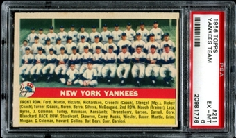 1956 Topps Baseball #251 New York Yankees Team PSA 6 (EX-MT) *1776