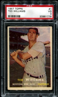1957 Topps Baseball #1 Ted Williams PSA 3 (VG) *1778