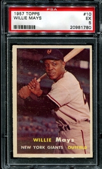 1957 Topps Baseball #10 Willie Mays PSA 5 (EX) *1780